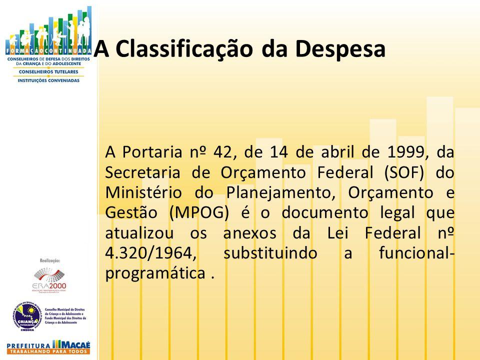 A Classificação da Despesa A Portaria nº 42, de 14 de abril de 1999, da Secretaria de Orçamento Federal (SOF) do Ministério do Planejamento, Orçamento