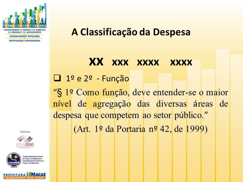A Classificação da Despesa xx xxx xxxx xxxx 1º e 2º - Função § 1 º Como fun ç ão, deve entender-se o maior n í vel de agrega ç ão das diversas á reas