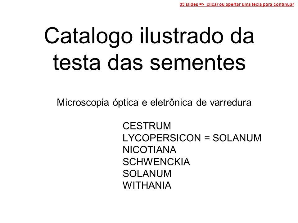 Catalogo ilustrado da testa das sementes Microscopia óptica e eletrônica de varredura CESTRUM LYCOPERSICON = SOLANUM NICOTIANA SCHWENCKIA SOLANUM WITHANIA 33 slides => clicar ou apertar uma tecla para continuar