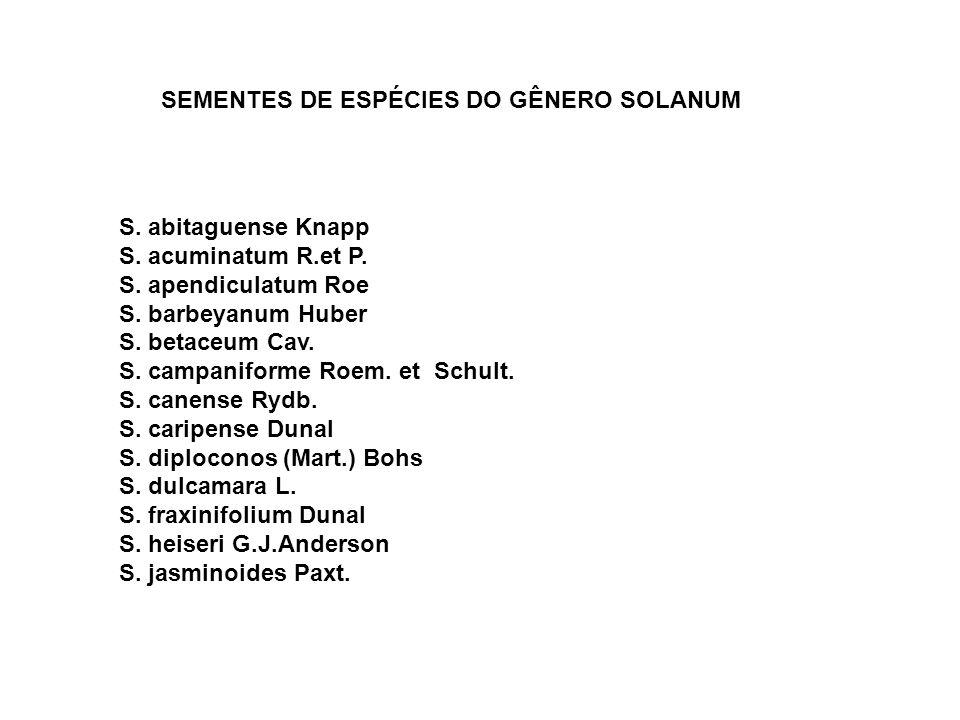 SEMENTES DE ESPÉCIES DO GÊNERO SOLANUM S. abitaguense Knapp S. acuminatum R.et P. S. apendiculatum Roe S. barbeyanum Huber S. betaceum Cav. S. campani