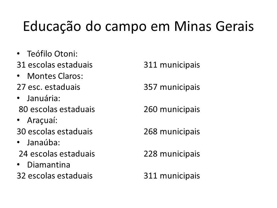 Educação do campo em Minas Gerais Teófilo Otoni: 31 escolas estaduais Montes Claros: 27 esc. estaduais Januária: 80 escolas estaduais Araçuaí: 30 esco