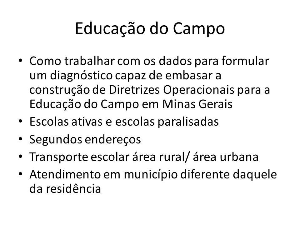 Educação do Campo Como trabalhar com os dados para formular um diagnóstico capaz de embasar a construção de Diretrizes Operacionais para a Educação do