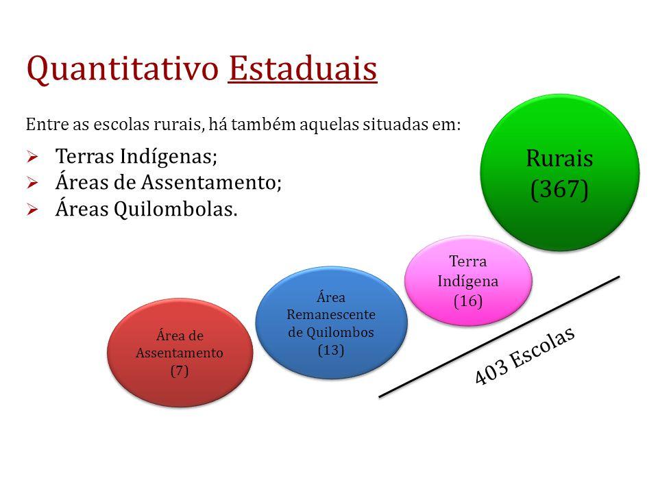 Quantitativo Estaduais Rurais (367) Rurais (367) Área Remanescente de Quilombos (13) Área Remanescente de Quilombos (13) Terra Indígena (16) Terra Indígena (16) Área de Assentamento (7) Área de Assentamento (7) 403 Escolas Entre as escolas rurais, há também aquelas situadas em: Terras Indígenas; Áreas de Assentamento; Áreas Quilombolas.