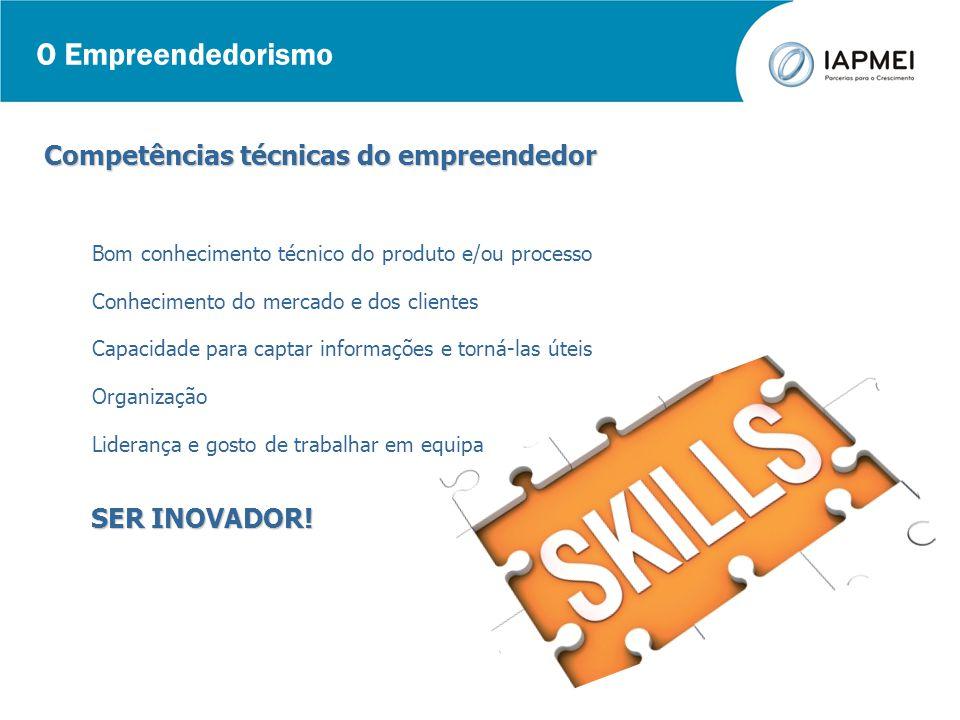 O Empreendedorismo Competências técnicas do empreendedor Bom conhecimento técnico do produto e/ou processo Conhecimento do mercado e dos clientes Capa