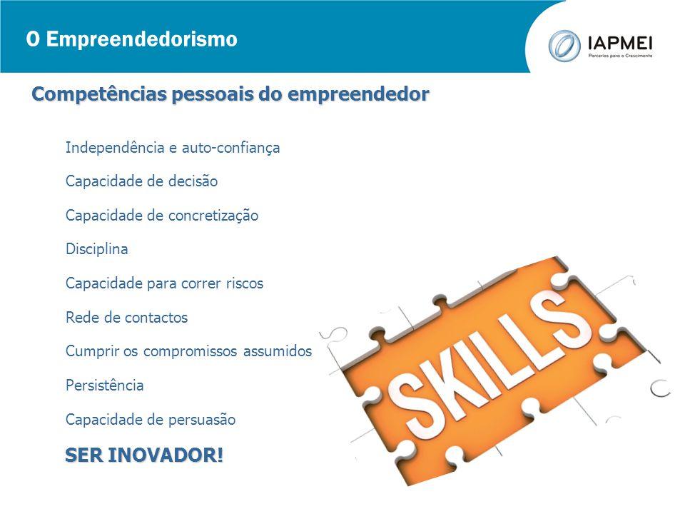 O Empreendedorismo Competências pessoais do empreendedor Independência e auto-confiança Capacidade de decisão Capacidade de concretização Disciplina C