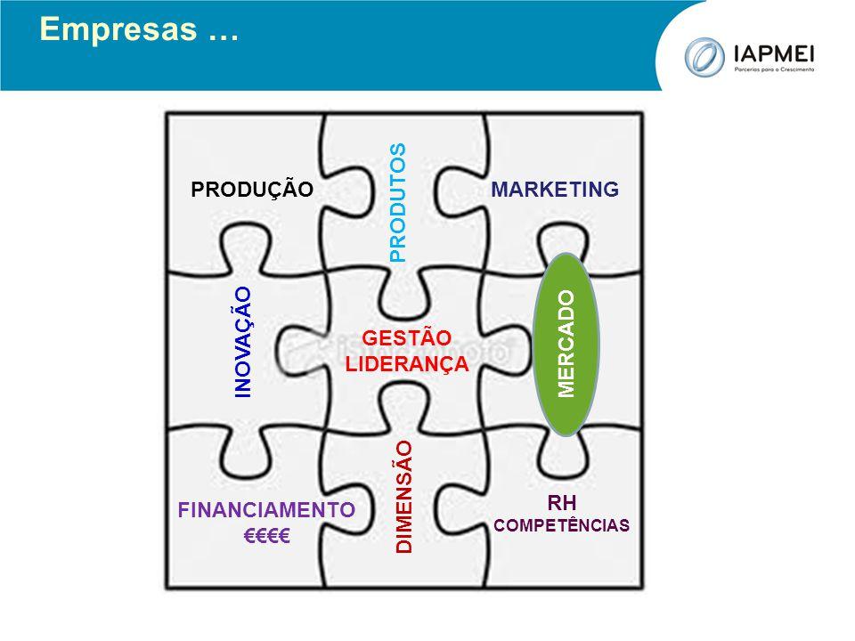 MERCADO PRODUTOS INOVAÇÃO DIMENSÃO PRODUÇÃO GESTÃO LIDERANÇA MARKETING FINANCIAMENTO RH COMPETÊNCIAS Empresas … MERCADO