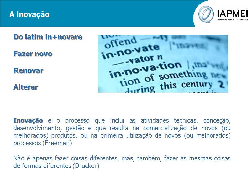 A Inovação Do latim in+novare Fazer novo RenovarAlterar Inovação Inovação é o processo que inclui as atividades técnicas, conceção, desenvolvimento, g