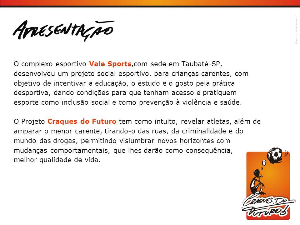 Marketing Craques do Futuro O complexo esportivo Vale Sports,com sede em Taubaté-SP, desenvolveu um projeto social esportivo, para crianças carentes,