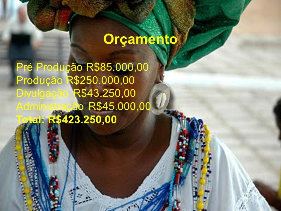 Orçamento Pré Produção R$85.000,00 Produção R$250.000,00 Divulgação R$43.250,00 Administração R$45.000,00 Total: R$423.250,00