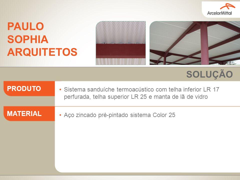Sistema sanduíche termoacústico com telha inferior LR 17 perfurada, telha superior LR 25 e manta de lã de vidro Aço zincado pré-pintado sistema Color