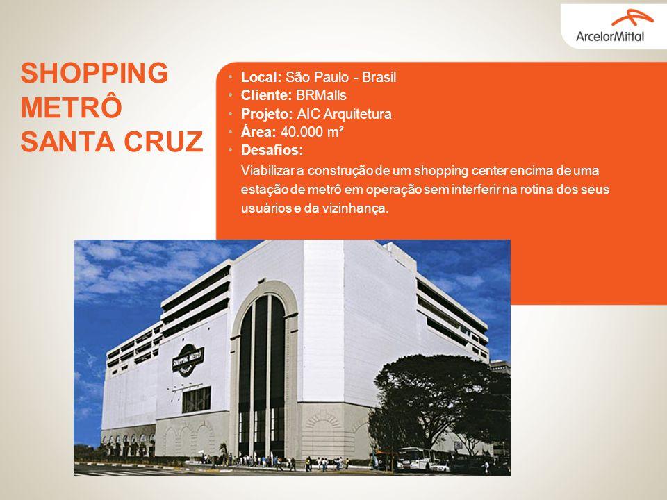 Local: São Paulo - Brasil Cliente: BRMalls Projeto: AIC Arquitetura Área: 40.000 m² Desafios: SHOPPING METRÔ SANTA CRUZ Viabilizar a construção de um