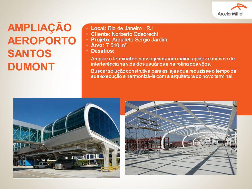 Local: Rio de Janeiro - RJ Cliente: Norberto Odebrecht Projeto: Arquiteto Sérgio Jardim Área: 7.510 m² Desafios: AMPLIAÇÃO AEROPORTO SANTOS DUMONT Amp