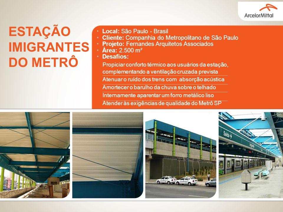 Local: São Paulo - Brasil Cliente: Companhia do Metropolitano de São Paulo Projeto: Fernandes Arquitetos Associados Área: 2.500 m² Desafios: Propiciar
