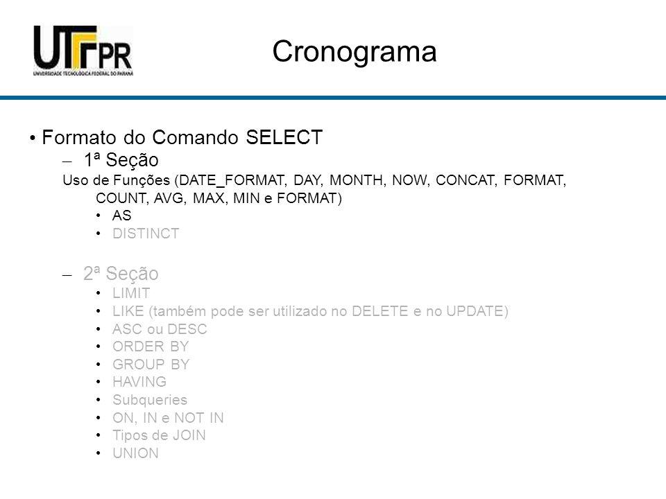 Cronograma Formato do Comando SELECT – 1ª Seção Uso de Funções (DATE_FORMAT, DAY, MONTH, NOW, CONCAT, FORMAT, COUNT, AVG, MAX, MIN e FORMAT) AS DISTINCT – 2ª Seção LIMIT LIKE (também pode ser utilizado no DELETE e no UPDATE) ASC ou DESC ORDER BY GROUP BY HAVING Subqueries ON, IN e NOT IN Tipos de JOIN UNION