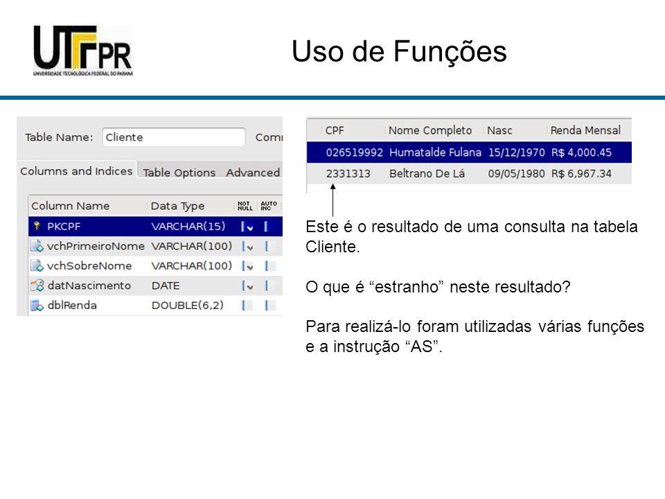 Uso de Funções Este é o resultado de uma consulta na tabela Cliente.