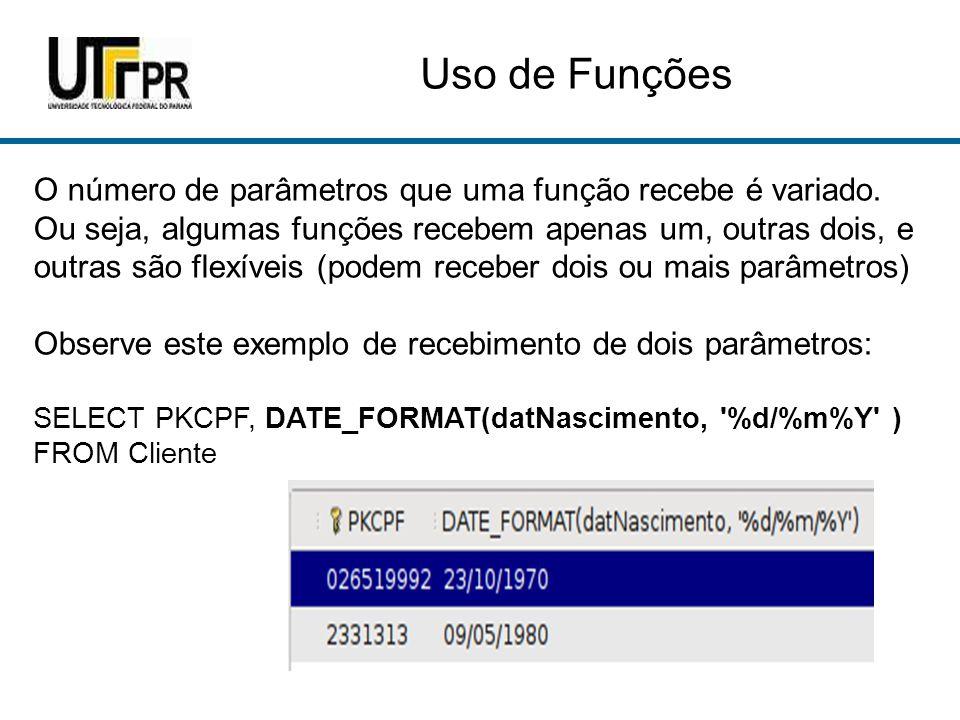 Uso de Funções O número de parâmetros que uma função recebe é variado.