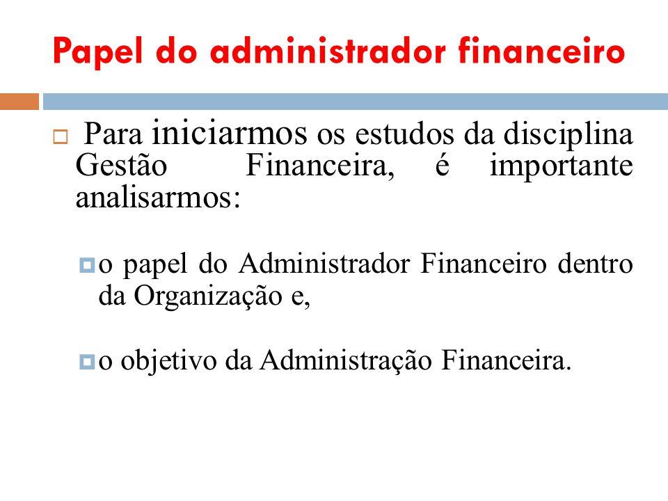Papel do administrador financeiro Para iniciarmos os estudos da disciplina Gestão Financeira, é importante analisarmos: o papel do Administrador Finan