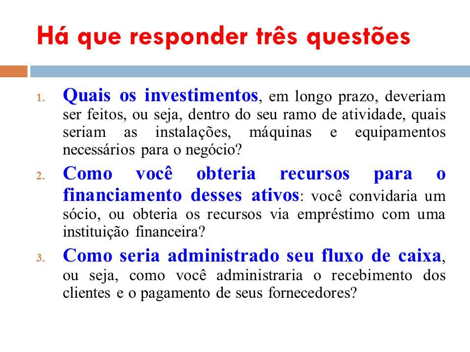 Há que responder três questões 1. Quais os investimentos, em longo prazo, deveriam ser feitos, ou seja, dentro do seu ramo de atividade, quais seriam