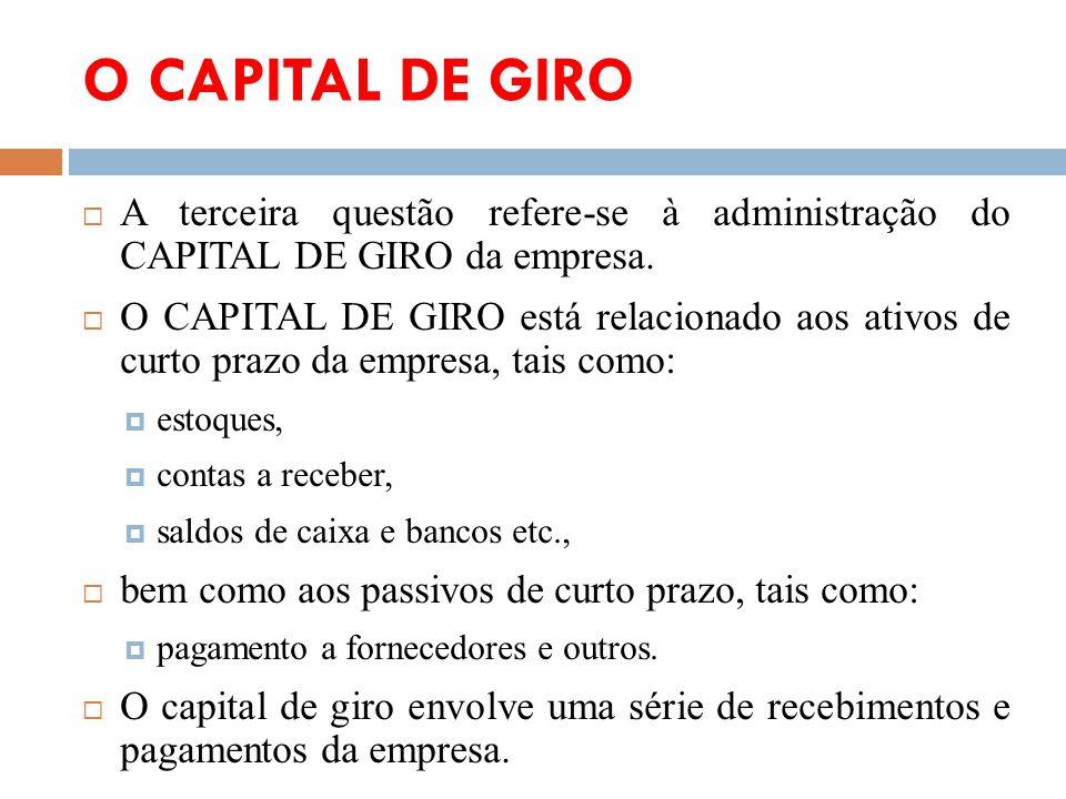 O CAPITAL DE GIRO A terceira questão refere-se à administração do CAPITAL DE GIRO da empresa. O CAPITAL DE GIRO está relacionado aos ativos de curto p