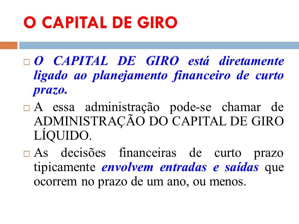 O CAPITAL DE GIRO O CAPITAL DE GIRO está diretamente ligado ao planejamento financeiro de curto prazo. A essa administração pode-se chamar de ADMINIST