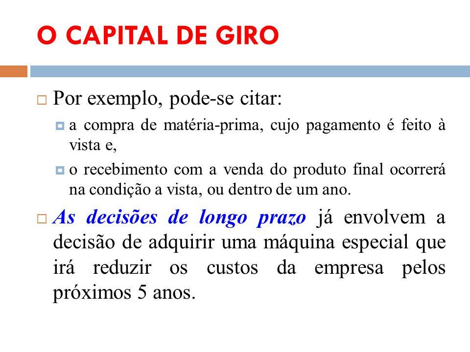 O CAPITAL DE GIRO Por exemplo, pode-se citar: a compra de matéria-prima, cujo pagamento é feito à vista e, o recebimento com a venda do produto final