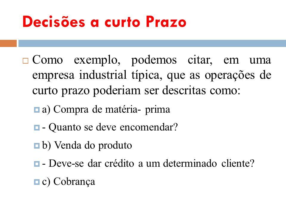 Decisões a curto Prazo Como exemplo, podemos citar, em uma empresa industrial típica, que as operações de curto prazo poderiam ser descritas como: a)