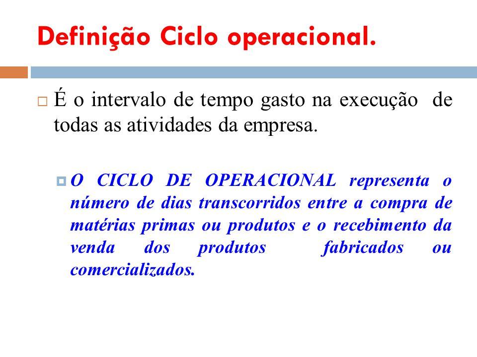 Definição Ciclo operacional. É o intervalo de tempo gasto na execução de todas as atividades da empresa. O CICLO DE OPERACIONAL representa o número de