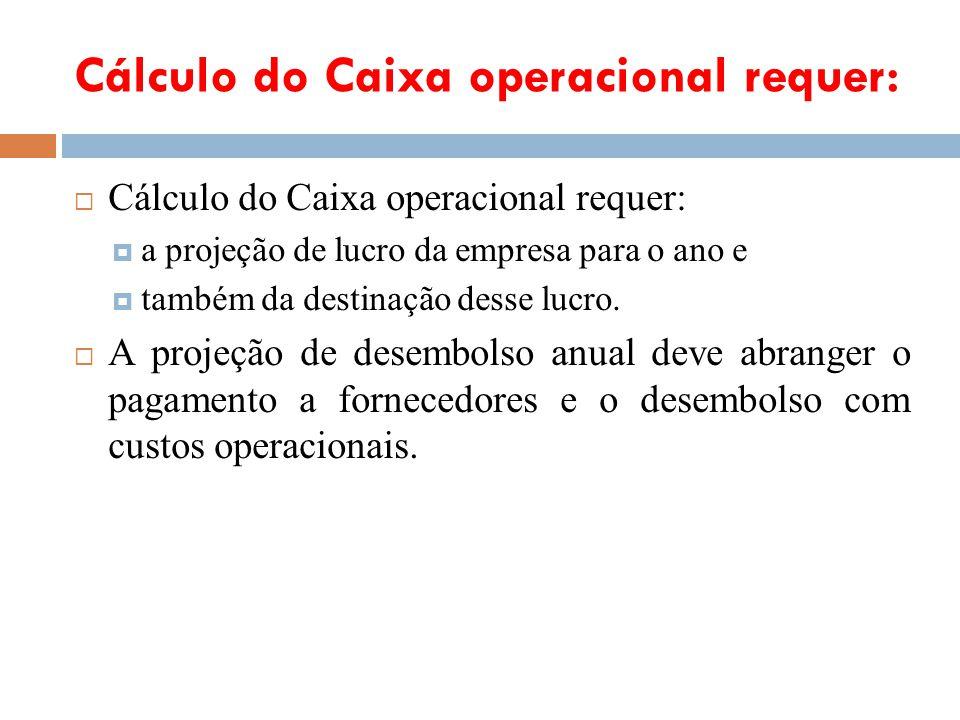 Cálculo do Caixa operacional requer: a projeção de lucro da empresa para o ano e também da destinação desse lucro. A projeção de desembolso anual deve