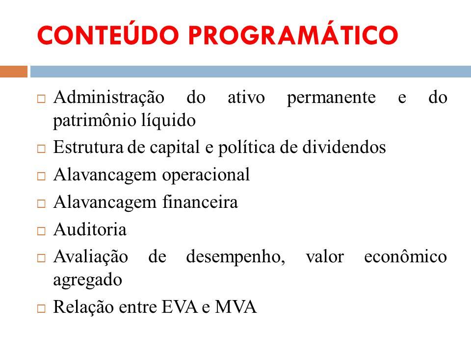 CONTEÚDO PROGRAMÁTICO Administração do ativo permanente e do patrimônio líquido Estrutura de capital e política de dividendos Alavancagem operacional