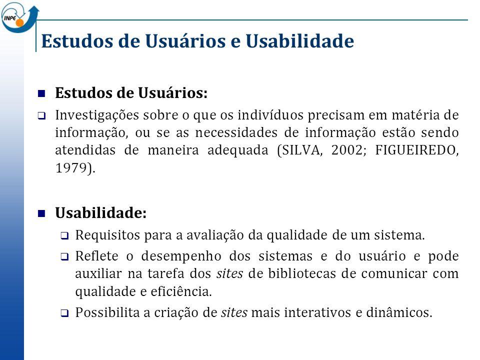 Estudos de Usuários e Usabilidade Estudos de Usuários: Investigações sobre o que os indivíduos precisam em matéria de informação, ou se as necessidade