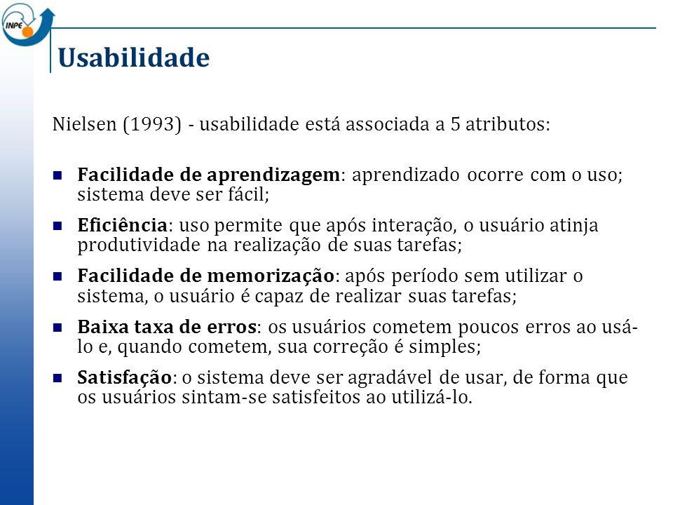Usabilidade Nielsen (1993) - usabilidade está associada a 5 atributos: Facilidade de aprendizagem: aprendizado ocorre com o uso; sistema deve ser fáci