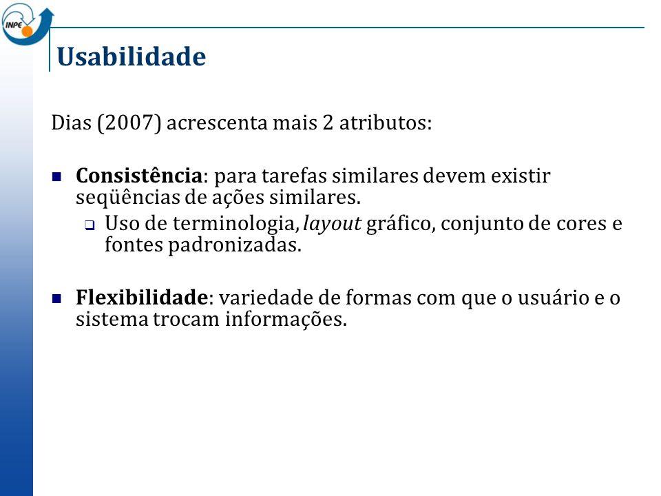 Usabilidade Dias (2007) acrescenta mais 2 atributos: Consistência: para tarefas similares devem existir seqüências de ações similares. Uso de terminol