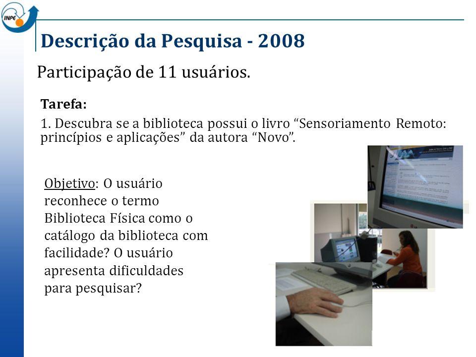 Descrição da Pesquisa - 2008 Participação de 11 usuários. Objetivo: O usuário reconhece o termo Biblioteca Física como o catálogo da biblioteca com fa