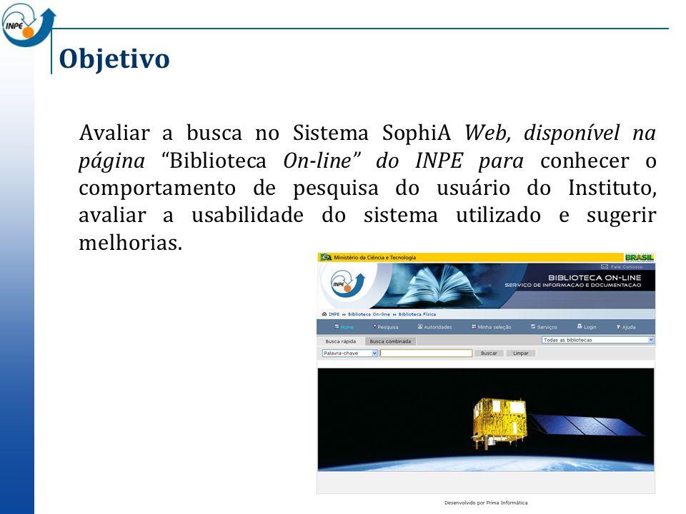 Objetivo Avaliar a busca no Sistema SophiA Web, disponível na página Biblioteca On-line do INPE para conhecer o comportamento de pesquisa do usuário d