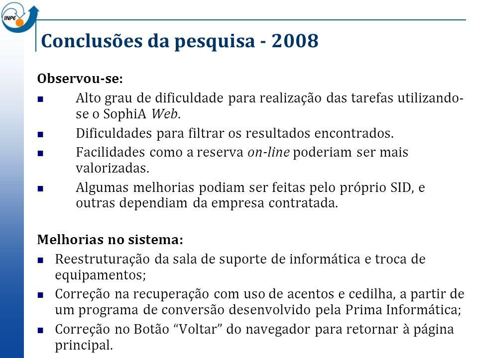 Conclusões da pesquisa - 2008 Observou-se: Alto grau de dificuldade para realização das tarefas utilizando- se o SophiA Web. Dificuldades para filtrar