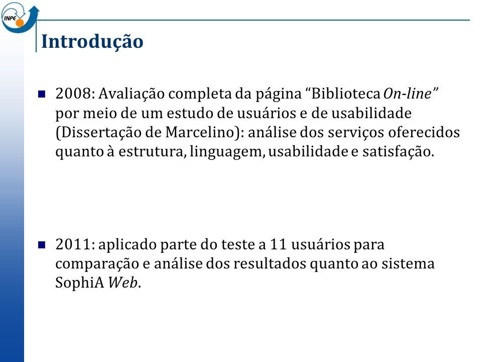 Introdução 2008: Avaliação completa da página Biblioteca On-line por meio de um estudo de usuários e de usabilidade (Dissertação de Marcelino): anális