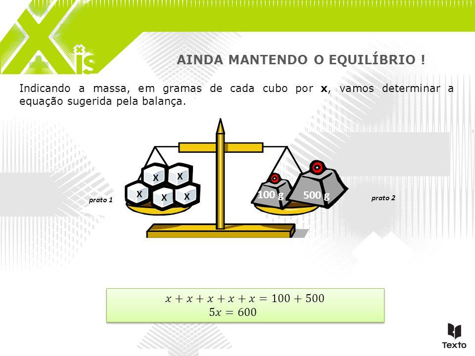 Indicando a massa, em gramas de cada cubo por x, vamos determinar a equação sugerida pela balança. 100 g 500 g prato 1 prato 2 AINDA MANTENDO O EQUILÍ