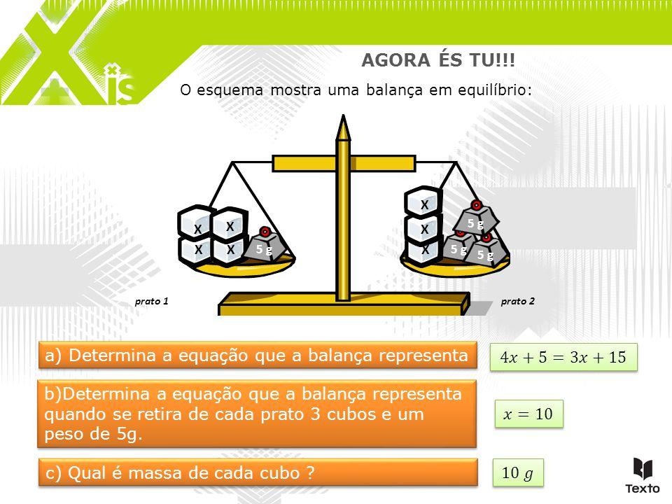 O esquema mostra uma balança em equilíbrio: prato 1prato 2 AGORA ÉS TU!!! X a) Determina a equação que a balança representa X X X 5 g XX X b)Determina
