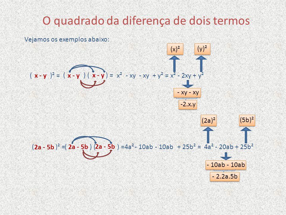 O quadrado da diferença de dois termos Vejamos os exemplos abaixo: x - y ( ) ( ) = x²- xy+ y² =- xyx² - 2xy + y²( )² =x - y 2a - 5b ( ) ( ) = 4a²- 10a