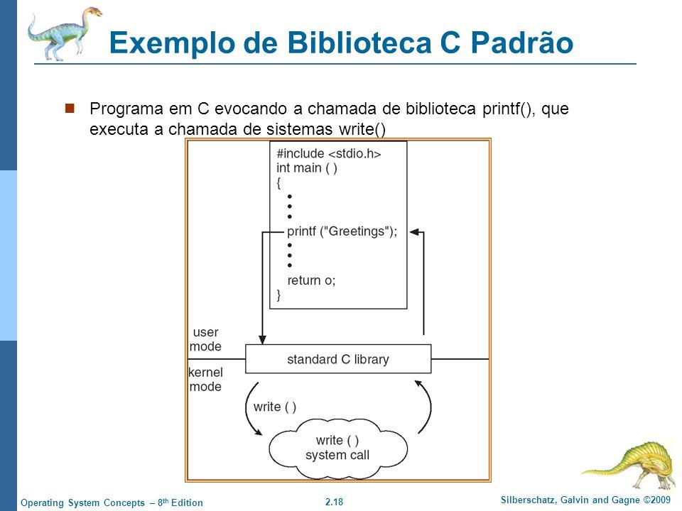 2.18 Silberschatz, Galvin and Gagne ©2009 Operating System Concepts – 8 th Edition Exemplo de Biblioteca C Padrão Programa em C evocando a chamada de biblioteca printf(), que executa a chamada de sistemas write()