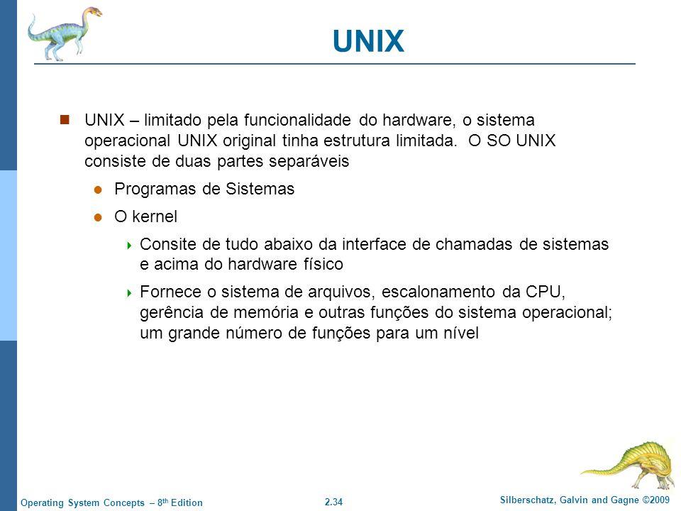 2.34 Silberschatz, Galvin and Gagne ©2009 Operating System Concepts – 8 th Edition UNIX UNIX – limitado pela funcionalidade do hardware, o sistema operacional UNIX original tinha estrutura limitada.