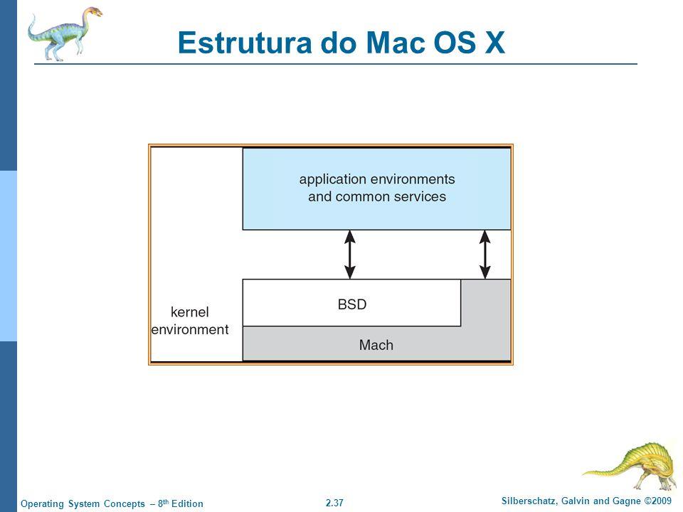 2.37 Silberschatz, Galvin and Gagne ©2009 Operating System Concepts – 8 th Edition Estrutura do Mac OS X