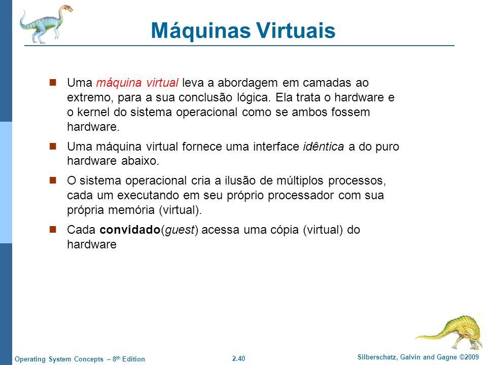 2.40 Silberschatz, Galvin and Gagne ©2009 Operating System Concepts – 8 th Edition Máquinas Virtuais Uma máquina virtual leva a abordagem em camadas ao extremo, para a sua conclusão lógica.