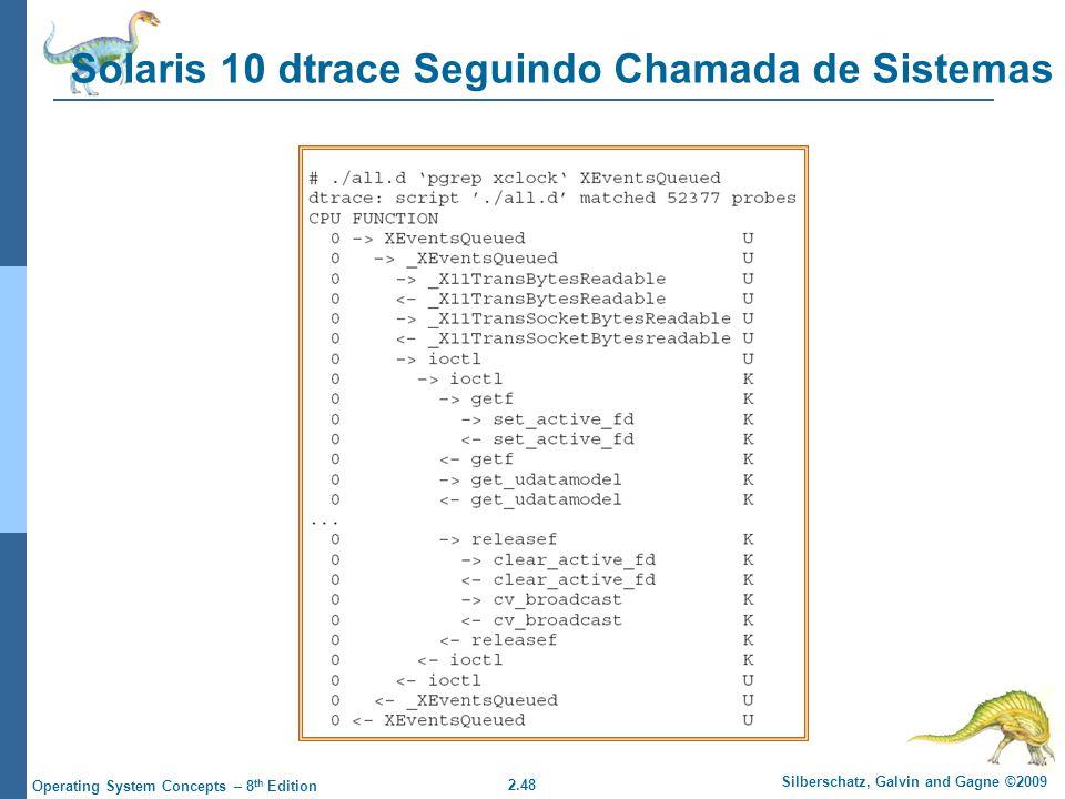 2.48 Silberschatz, Galvin and Gagne ©2009 Operating System Concepts – 8 th Edition Solaris 10 dtrace Seguindo Chamada de Sistemas