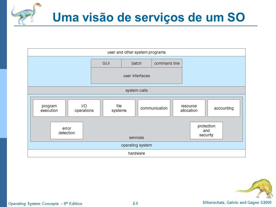 2.6 Silberschatz, Galvin and Gagne ©2009 Operating System Concepts – 8 th Edition Uma visão de serviços de um SO