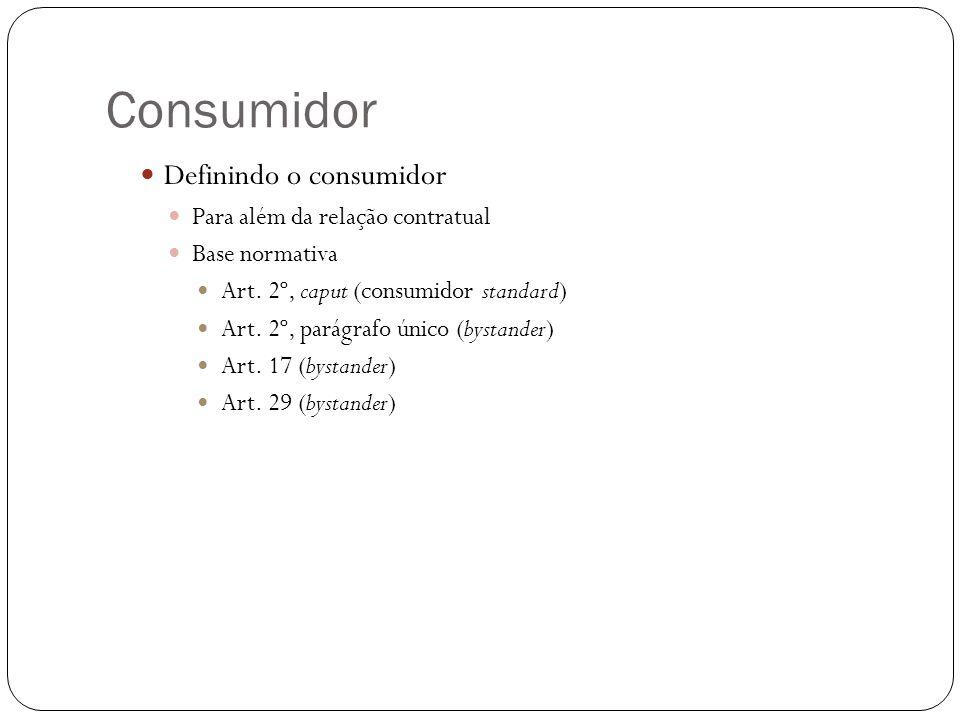 Consumidor Definindo o consumidor Para além da relação contratual Base normativa Art. 2º, caput (consumidor standard) Art. 2º, parágrafo único (bystan