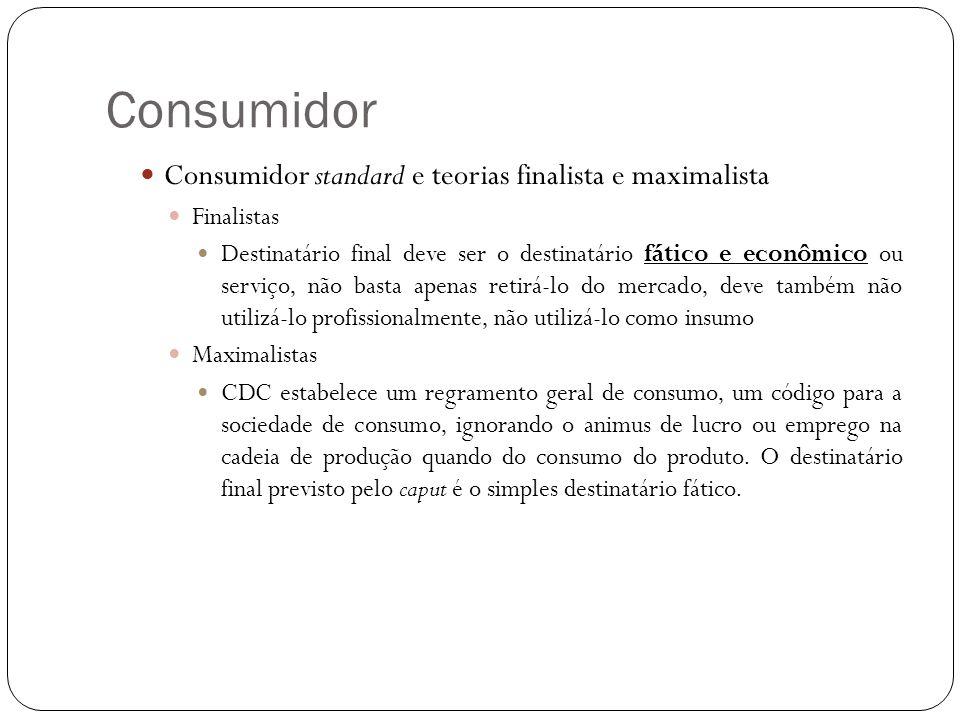 Consumidor Consumidor standard e teorias finalista e maximalista Finalistas Destinatário final deve ser o destinatário fático e econômico ou serviço,