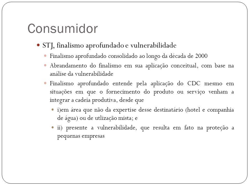 Consumidor STJ, finalismo aprofundado e vulnerabilidade Finalismo aprofundado consolidado ao longo da década de 2000 Abrandamento do finalismo em sua