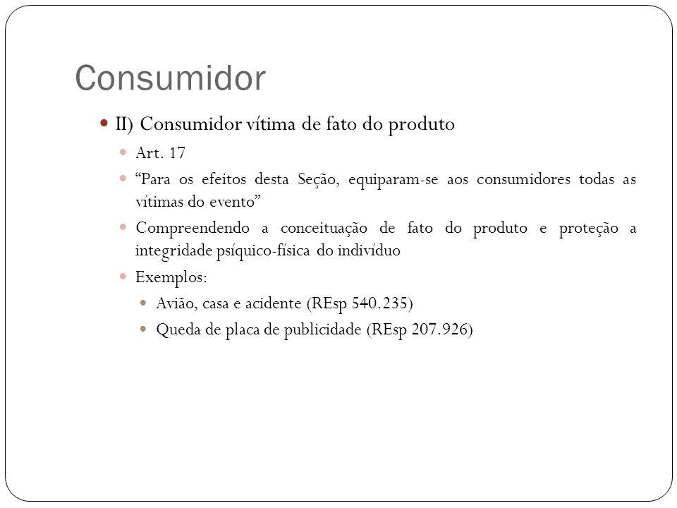 Consumidor II) Consumidor vítima de fato do produto Art. 17 Para os efeitos desta Seção, equiparam-se aos consumidores todas as vítimas do evento Comp