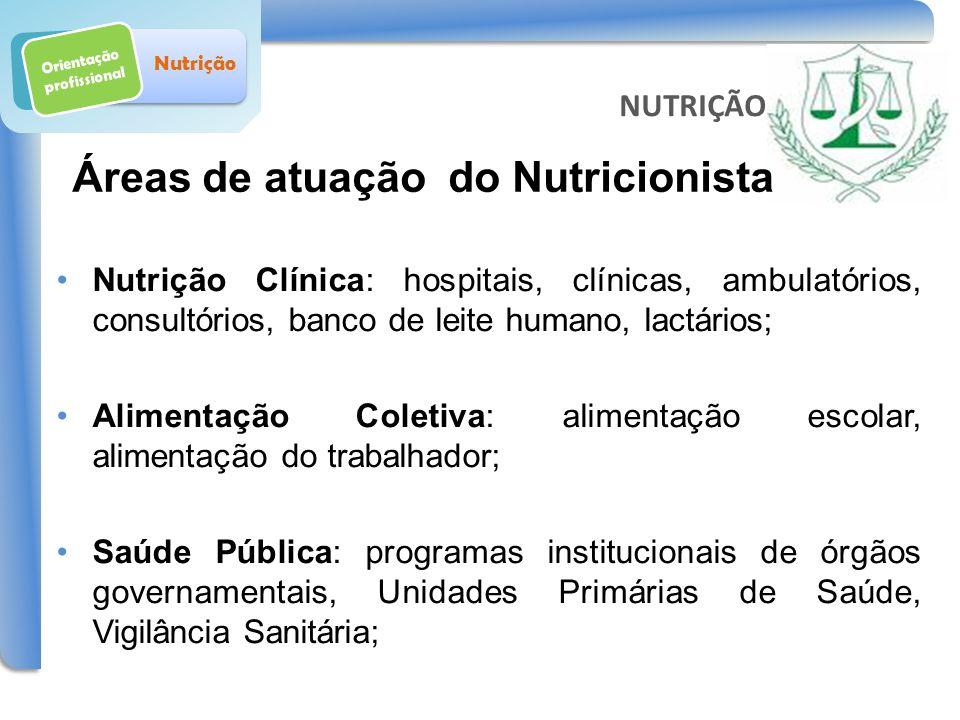 Orientação profissional Nutrição Nutrição Clínica: hospitais, clínicas, ambulatórios, consultórios, banco de leite humano, lactários; Alimentação Cole